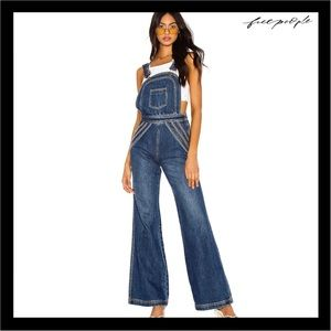 NEW FREE PEOPE RAINBOW DETAIL LONG OVERALLS